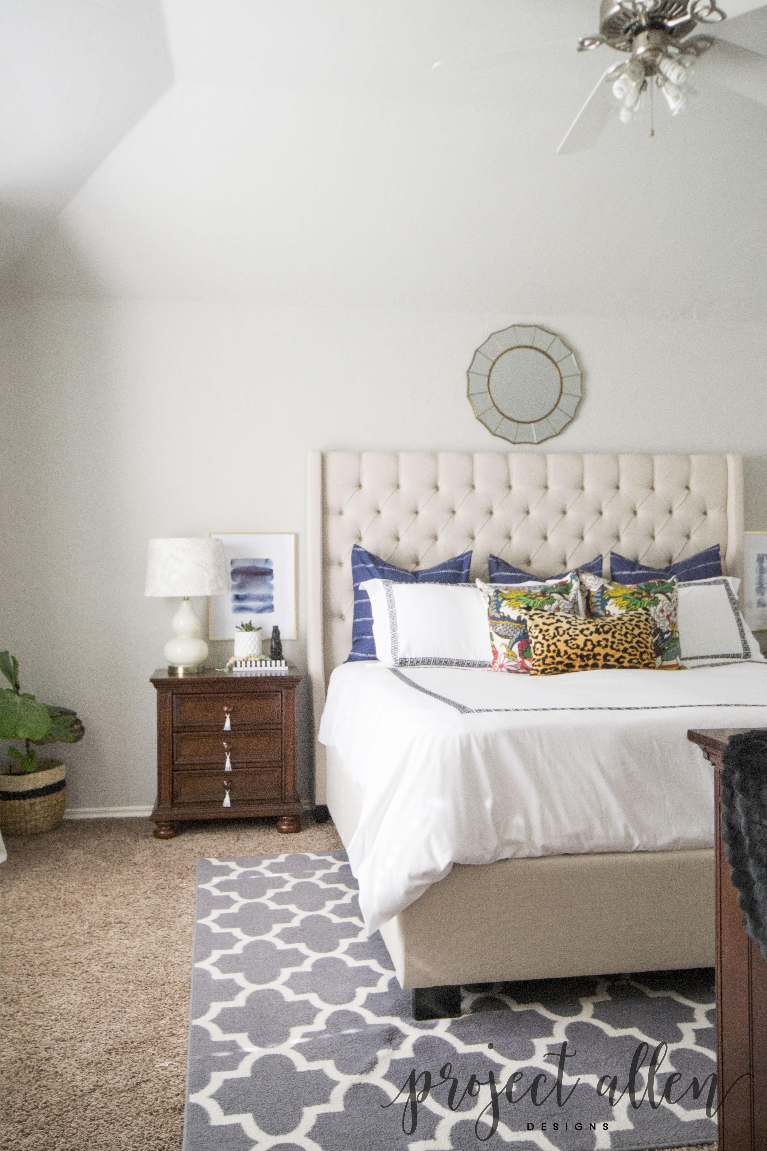 bedroom reveal bed navy pillows dragon pillows greek key bedding